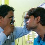 Image credit: Rudra Narayan Mitra / 123rf. Concept: eye exam to tackle vision loss and visual impairment. Glaucoma awareness concept.